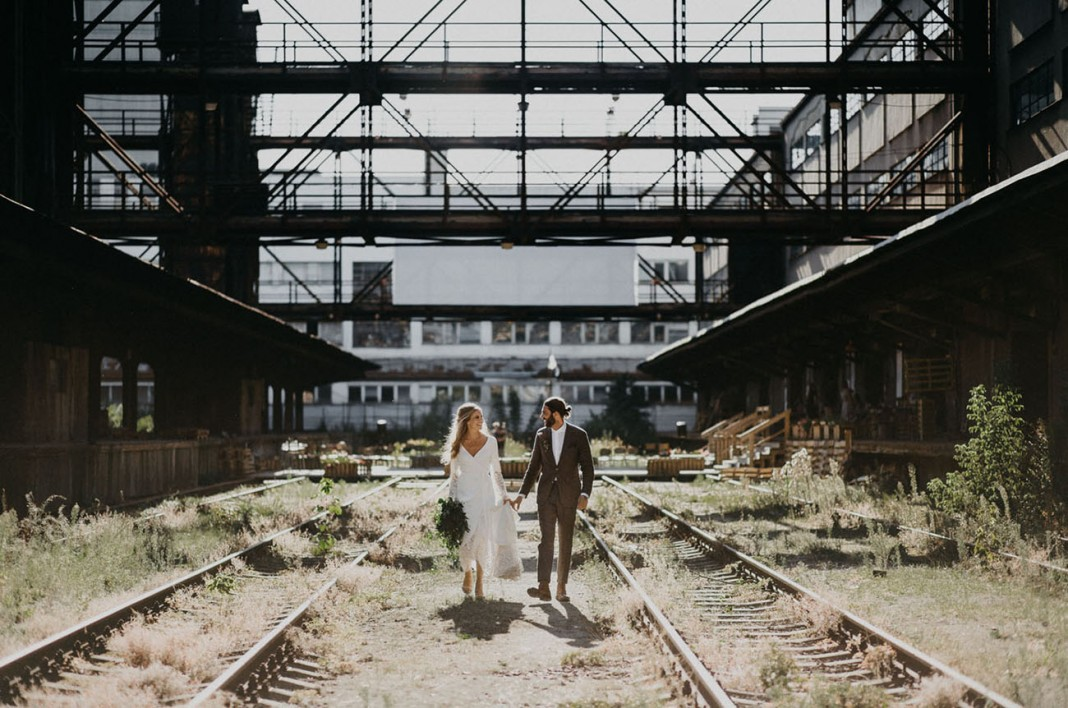 A Wedding at an Abandoned Train Station in Prague