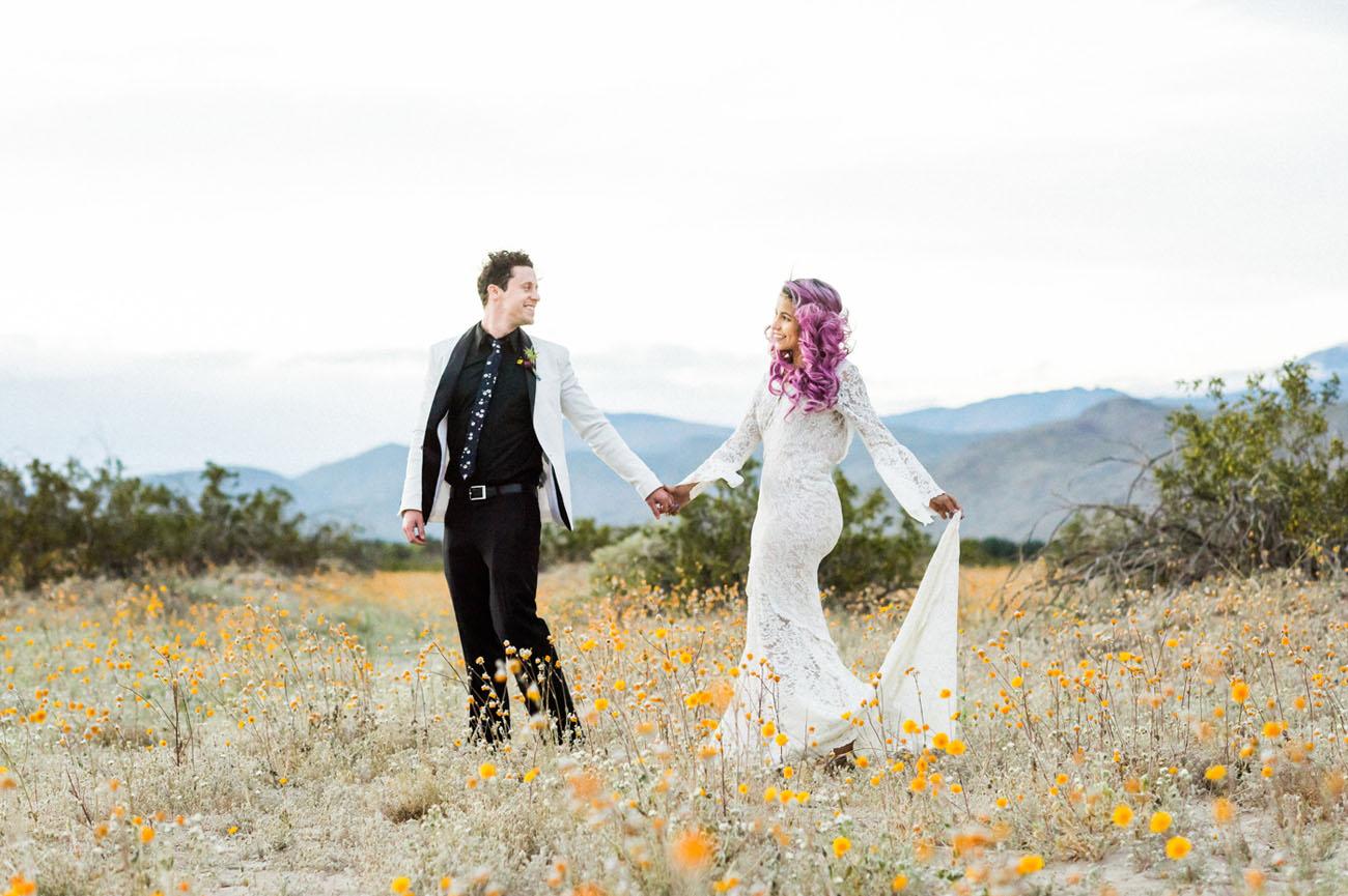 Cosmic Bloom: Desert Wildflower Elopement Inspiration