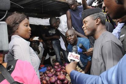 Democracy Day: Osinbajo visits Abuja market