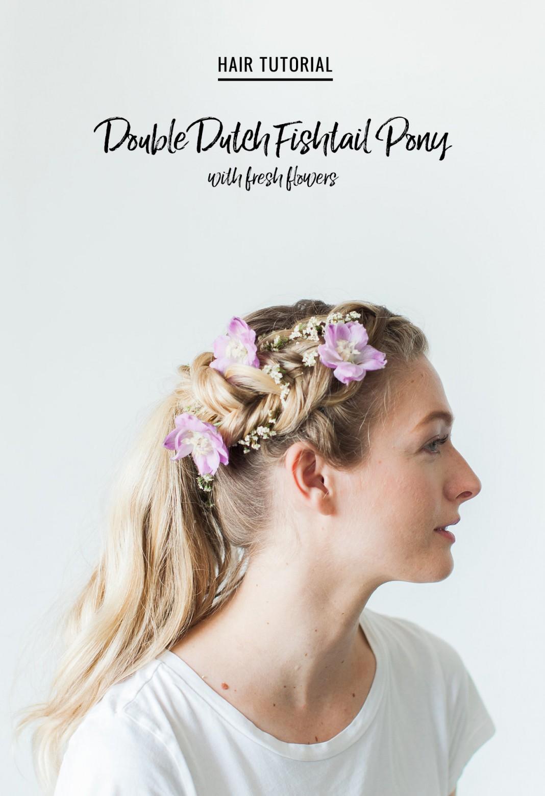 Hair Tutorial: Double Dutch Fishtail Pony with Fresh Flowers