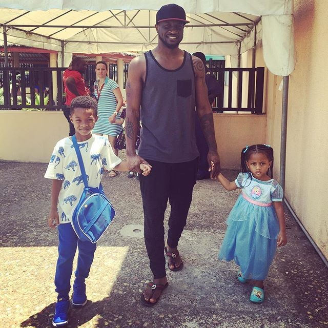 Peter Okoye and his beautiful daughter share quality time in his studio