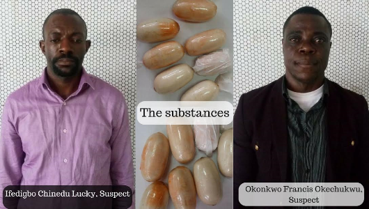 Photos: NDLEA arrest two drug traffickers at Lagos airport