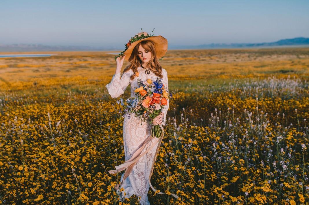 Sweet 70s Wildflower Bridal Inspiration