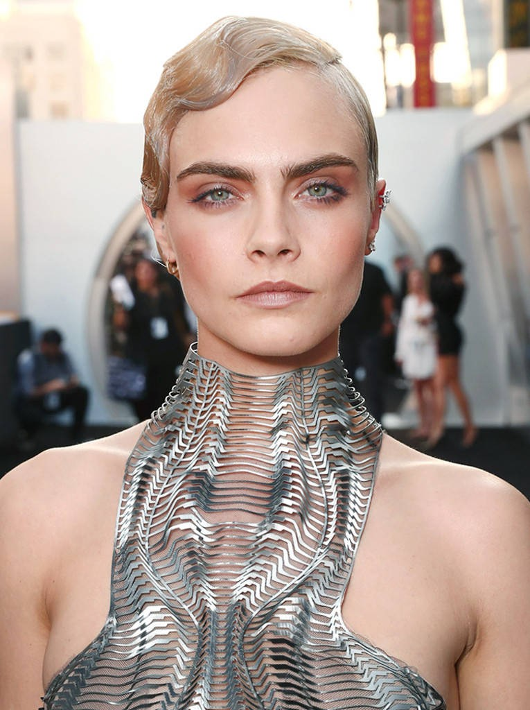 Cara Delevingne Channels Past and Future With Silver Toupee