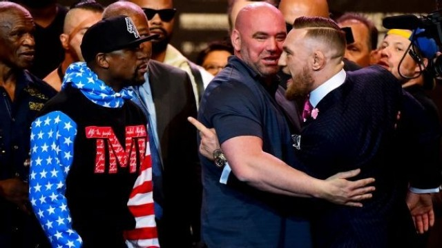 Floyd-Conor tour begins with insults, taunts