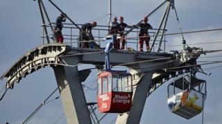 German cable car collision leaves dozens stranded in mid-air