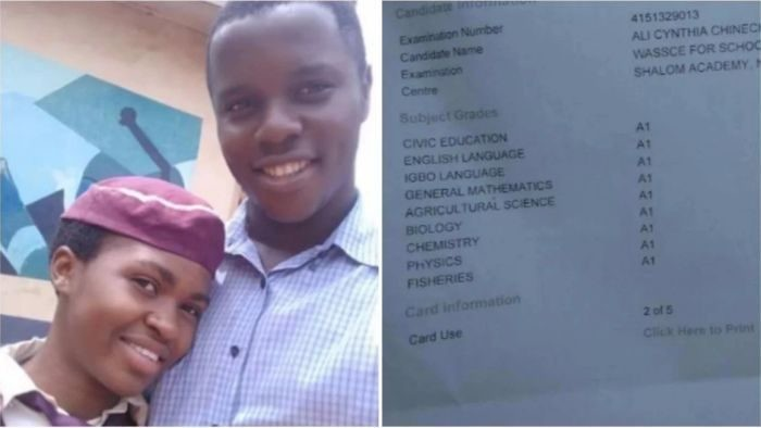 Meet Nigerian female Student, Ali Cynthia Chineche who made A1 in all her WAEC Results (PHOTOS)