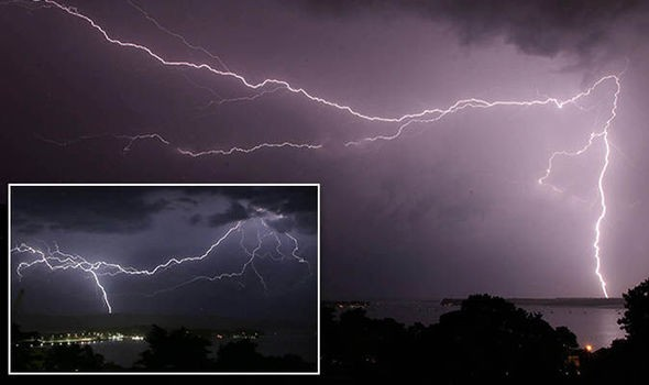 Phone footage shows moment lightning storms hit UK