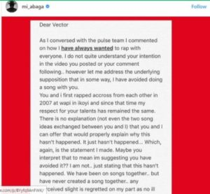 M.I Writes Open Letter To Vector [SEE PICTURES]