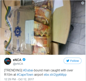 Man arrested with '$740,000 stuffed in suitcases' in South Africa