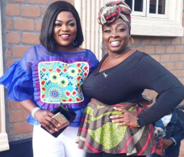 Photo of actresses Funke Akindele-Bello and Lolo at a party in Lagos today