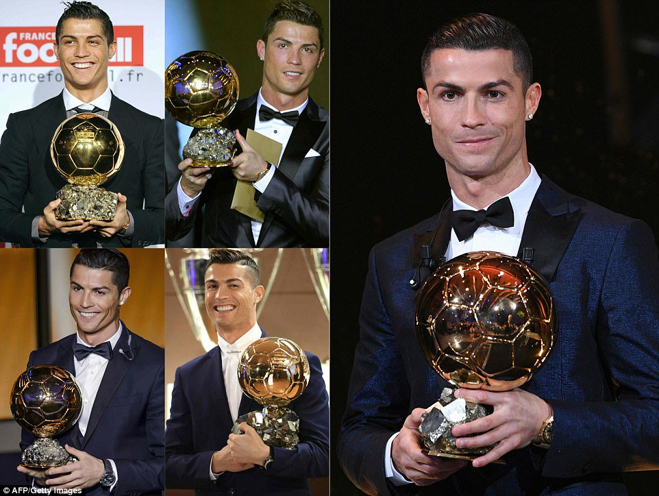 Cristiano Ronaldo says after winning his fifth Ballon d'Or to match Lionel Messi's record-'Let the fight continue'
