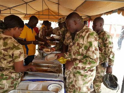 Soldiers celebrate Christmas in Gwoza, Buni Yadi