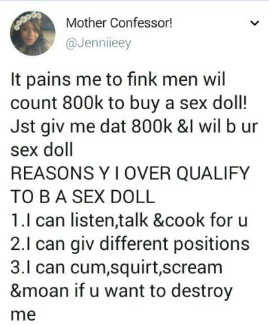 """""""Just Give Me N800k, And I Will Be Your Sex Doll""""- Nigerian Lady Cries Out In Search Of A Man"""