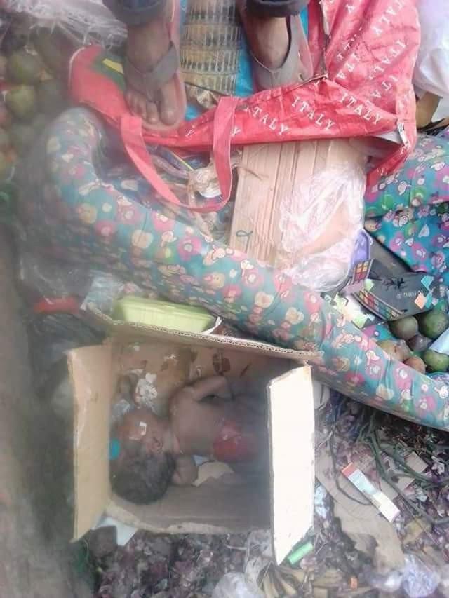 Graphic photos: Body of newborn baby found at refuse dump in Owerri