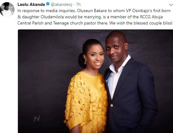 'VP Yemi Osinbajo' s daughter's fiance is not a Muslim, he is a pastor in RCCG' - Laolu Akande