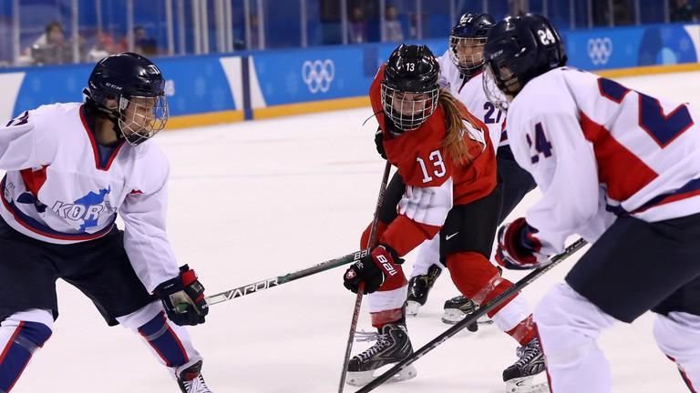 Unified Korea women's ice hockey team beaten by Switzerland at Winter Olympics