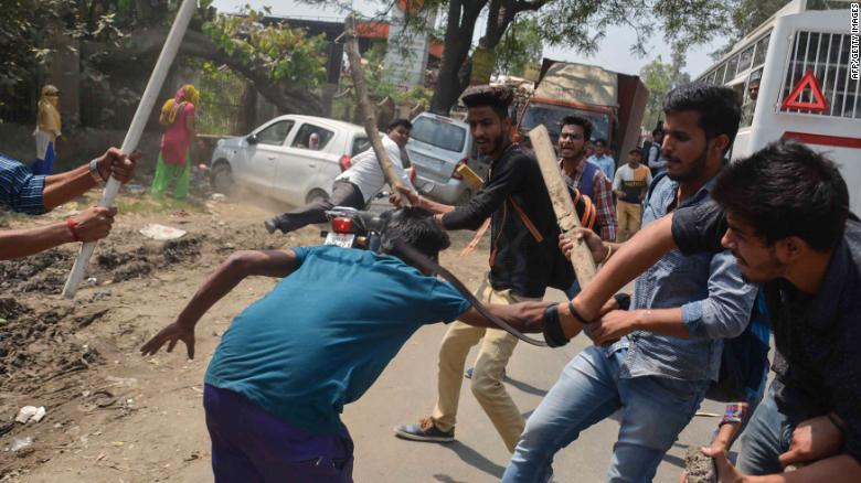 As widespread Indian caste protests turn violent, 8 people killed
