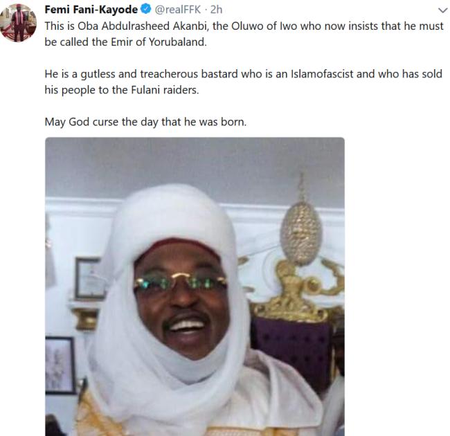 """May God curse the day he was born"" - FFK blasts Oluwo of Iwo, Oba/emir of Yorubaland"