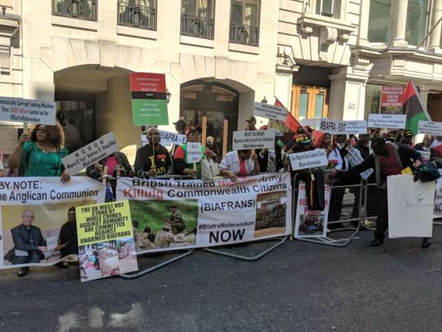 London protesters ask President buhari to produce Nnamdi Kanu