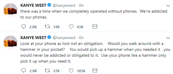says it's a tool not obligation, Kanye West speaks out against addiction to phones