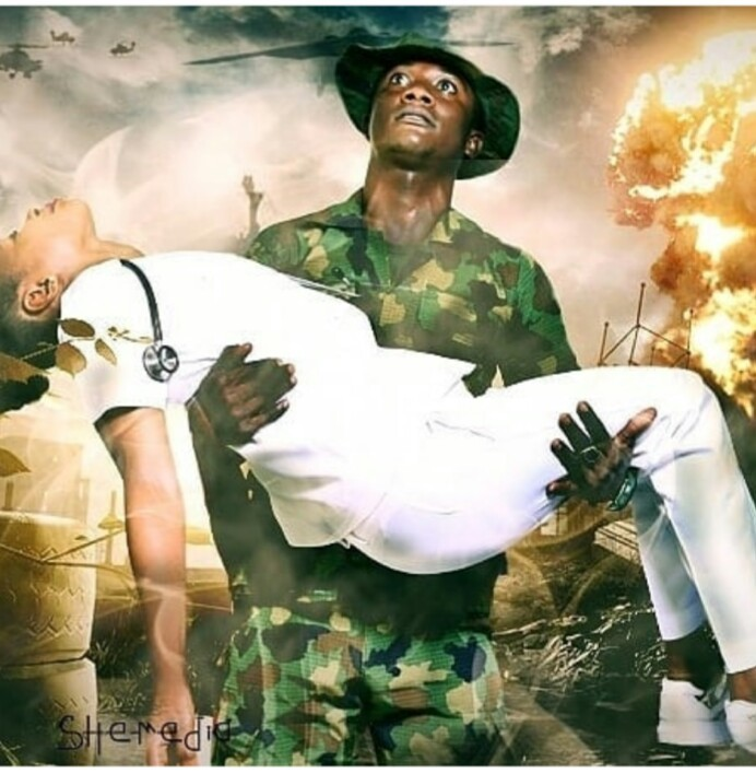 Interesting pre-wedding photos of a Nigerian soldier and his fiancee who is a nurse
