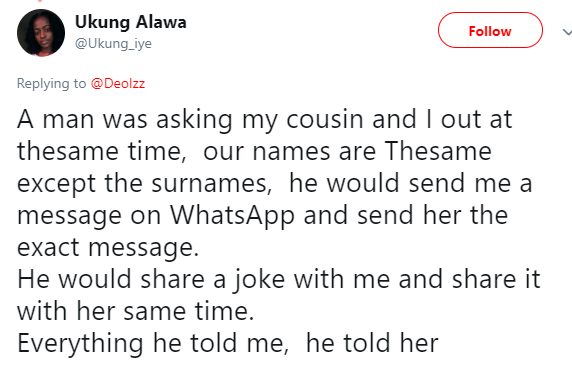 Lady narrates how a man was asking her and her cousin out at the same time