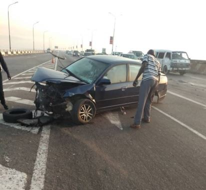 Photos from the lone accident on Third Mainland Bridge this morning