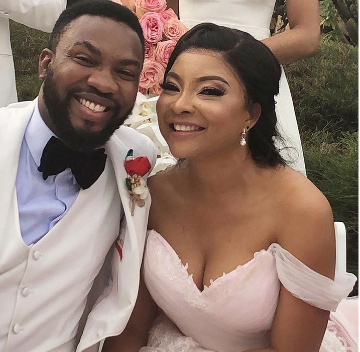 First photos from Linda Ejiofor and hubby Ibrahim Suleiman's white wedding in Lagos