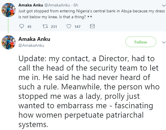 Photo: Lady left in shock after she was reportedly stopped from entering Central Bank of Nigeria's building because of her ''short dress''