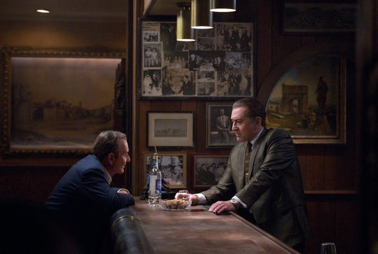 "Joe Pesci, left, and Robert De Niro in a scene from Netflix's ""The Irishman,"" which premiered at the New York Film Festival Friday."