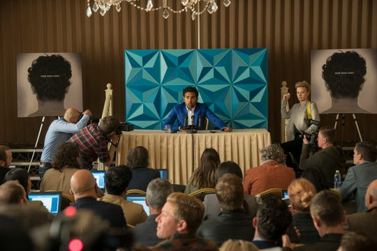 """With his manager Debra (far right, Kate McKinnon), Jack Malik (Himesh Patel) finds overnight success a stressful situation in """"Yesterday."""""""