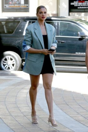 Alesha Dixon – Wearing a black mini dress with an oversized blazer in Los Angeles in California