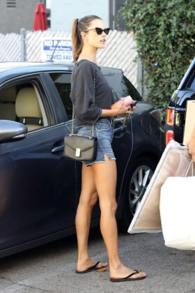 Alessandra Ambrosio in Jeans Shorts – Picks up a few items from a photo studio in West Hollywood