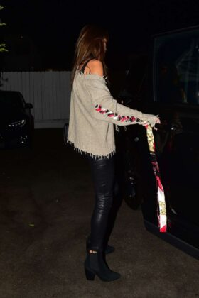 Alessandra Ambrosio in Leather Pants out for dinner in Santa Monica