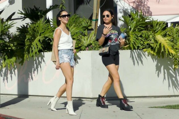 Cara Santana in Denim Shorts – Leaving a lunch in West Hollywood