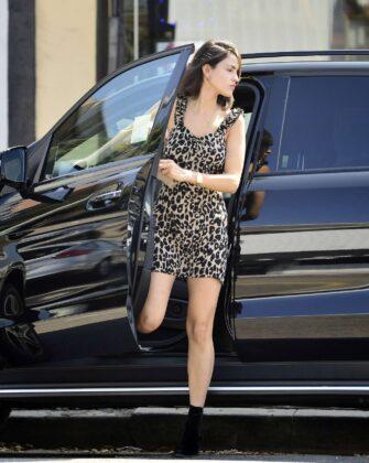 Eiza Gonzalez in Mini Leopard Print Dress – Out in Los Angeles