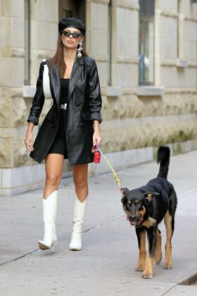 Emily Ratajkowski in White Boots and Black Leather Coat – Walking her dog Colombo in New York