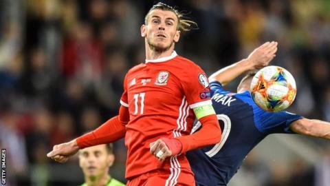 Gareth Bale in action v Slovakia