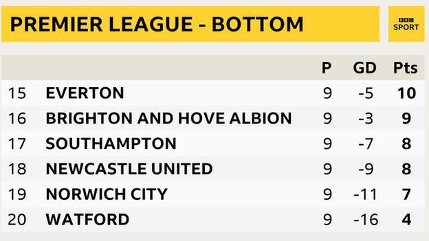 Snapshot showing bottom of the Premier League: 15th Everton, 16th Brighton, 17th Southampton, 18th Newcastle, 19th Norwich & 20th Watford