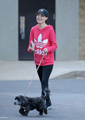 Miranda Cosgrove – Out with her dog Penelope in LA
