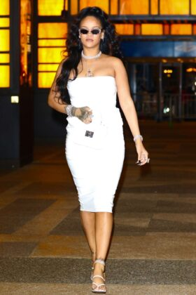 Rihanna in White Dress – Arrives at her hairstylist Yusef Williams' Porcelain Ball in NYC