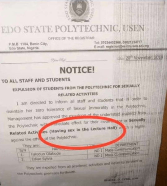 Edo Polytechnic Expels Two Students Caught Having S e x In Lecture Hall