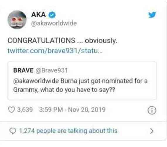 AKA Congratulates Burna Boy After His Grammy Nomination