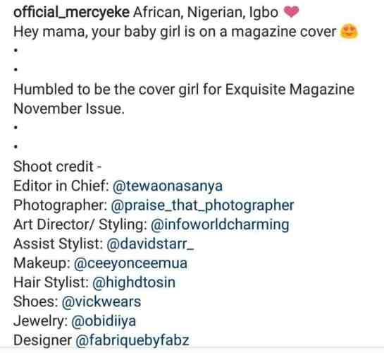 #BBNaija: Mercy Covers Exquisite Magazine November Issue (See Photos)