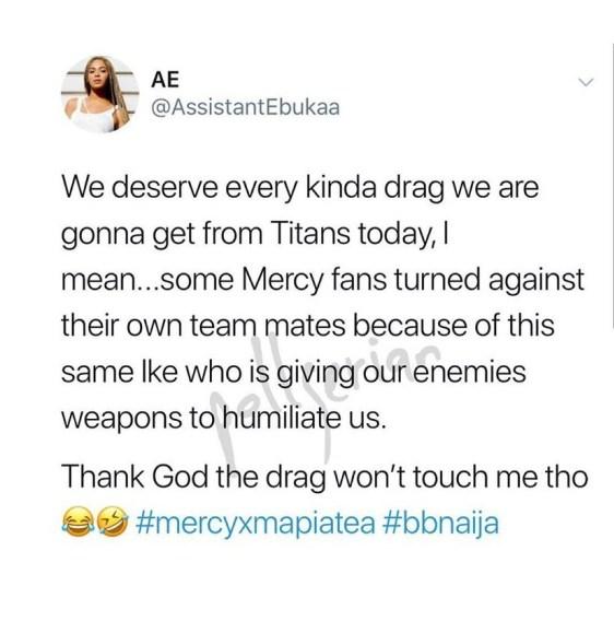 #BBNaija: Mercy's Fans Slams Ike For Going Live With Tacha Mercy