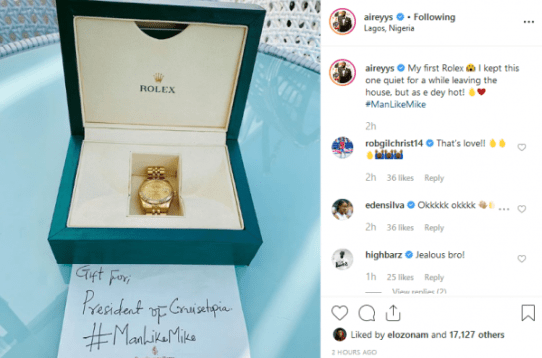 #BBNaija: Mike Fans Buys Him An Original Rolex Wristwatch (See Photo)