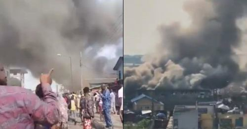 Building On Fire At Tejuosho Market In Yaba, Lagos