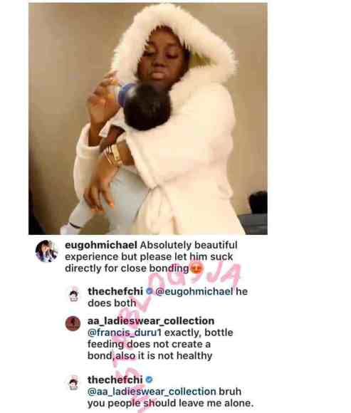 Chioma Replies Fan Who Advised Her To Stop Bottle Feeding Her Son