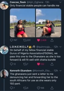Hahaha!! Response The Nigerian Lady Who Said Only Financial Stable Men Can Handle Her Received Will Make You Roll On The Floor Laughing! (Screenshot)